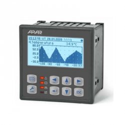 Rejestrator danych uniwersalny 4-kanałowy temperatury i sygnałów analogowych APAR AR205-4 wyświetlacz LCD tablicowy 96x96 mm