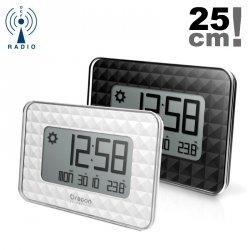 Zegar ścienny stacja pogody Oregon JW208 elektroniczny LCD sterowany radiowo z termometrem.