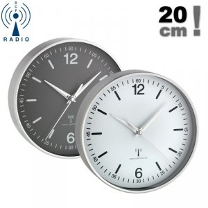 TFA 60.3503 zegar ścienny wskazówkowy sterowany radiowo aluminiowy 20 cm