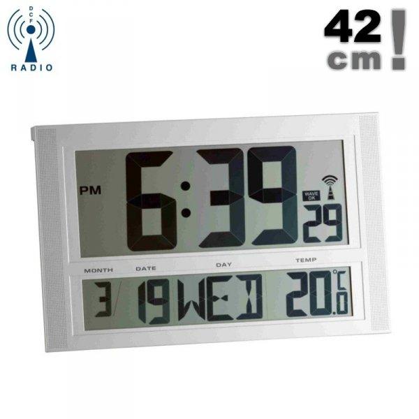 TFA 98.1090 zegar elektroniczny ścienny biurowy sterowany radiowo z termometrem duży 42 cm