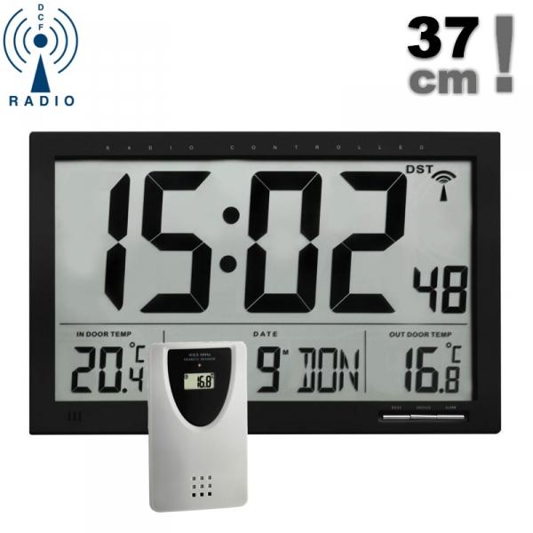 TFA 60.4510 zegar elektroniczny ścienny biurowy z czujnikiem bezprzewodowym temperatury sterowany radiowo duży 37 cm