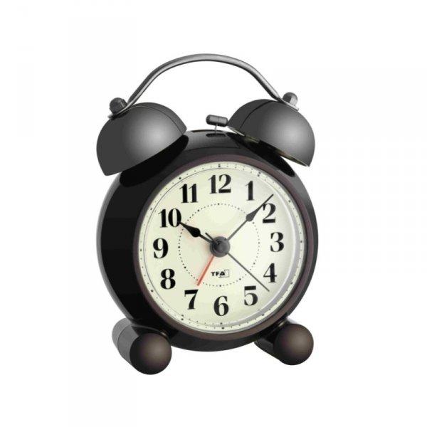 TFA 60.1014 budzik biurkowy zegar wskazówkowy klasyczny płynąca wskazówka