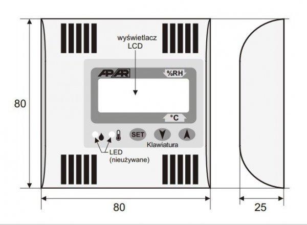 APAR AR556 termometr przemysłowy analogowy czujnik temperatury wewnętrzny wyjście prądowe wyświetlacz LCD