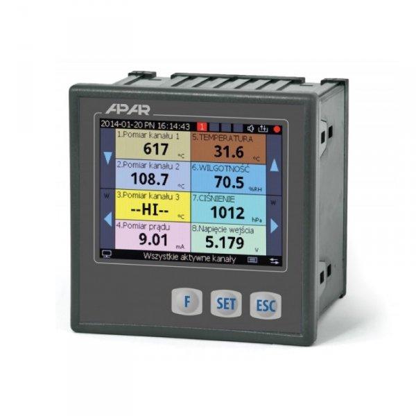 APAR AR207 rejestrator danych uniwersalny wielokanałowy temperatury i sygnałów analogowych ethernet wyświetlacz LCD tablicowy 96x96 mm