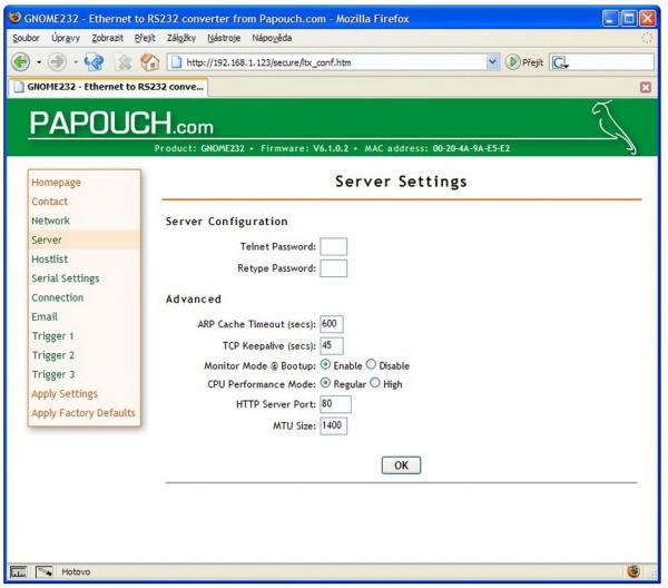 Konwerter sygnału RS232 do Ethernet Papouch GNOME232 izolowany galwanicznie