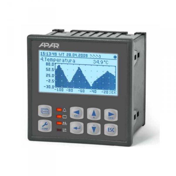 APAR AR205-4 rejestrator danych uniwersalny 4-kanałowy temperatury i sygnałów analogowych wyświetlacz LCD tablicowy 96x96 mm