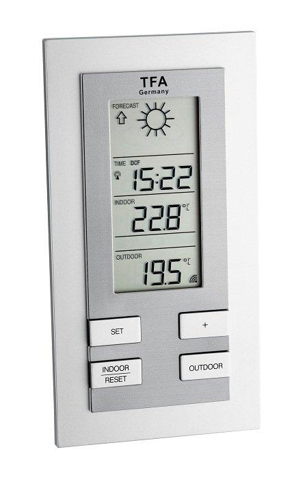 TFA 35.1117 QUANTIA stacja pogody bezprzewodowa  z czujnikiem zewnętrznym błyskawiczna transmisja
