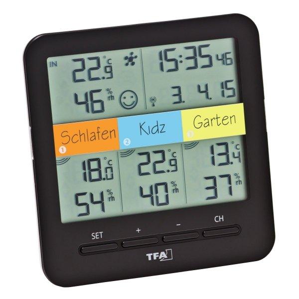 Termohigrometr bezprzewodowy TFA 30.3060 zewnętrzny KLIMA@HOME z 3 czujnikami WeatherHub