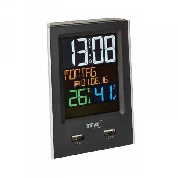 TFA 60.2537 termohigrometr elektroniczny wewnętrzny z ładowarkąUSB
