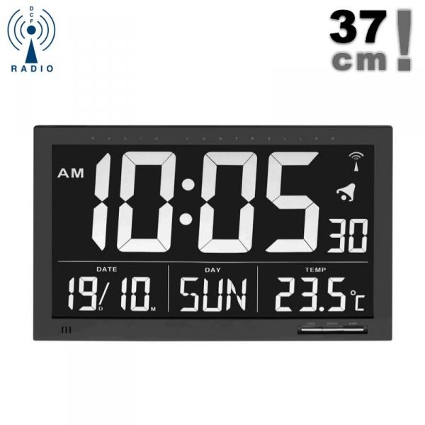 TFA 60.4505 zegar elektroniczny ścienny biurowy sterowany radiowo z termometrem duży 37 cm