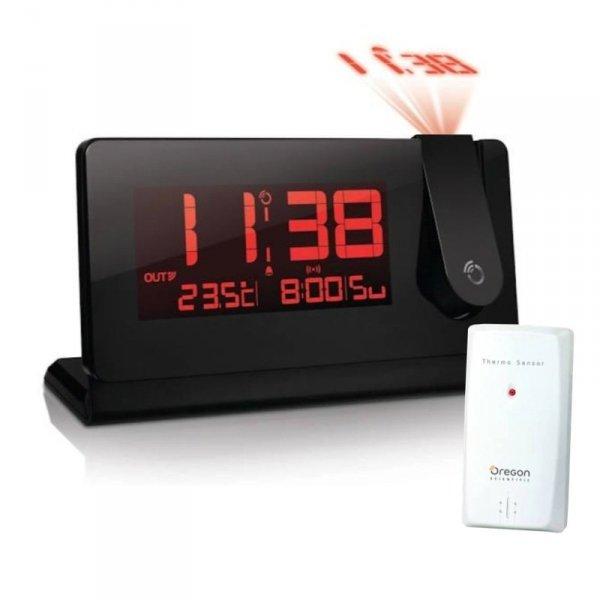 Termometr bezprzewodowy Oregon RMR391P z czujnikiem zewnętrznym budzik z projektorem