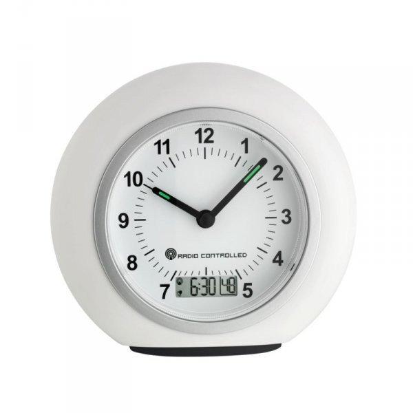 TFA 60.1509 budzik biurkowy wskazówkowy sterowany radiowo z wyświetlaczem LCD
