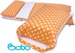 Pokrowiec na śpiworek pomarańczowy w grochy