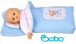 Becik dla lalki z kapturem i aplikacją błękitny w kropki