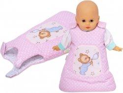 Śpiworek dla lalki różowy w groszki z misiem