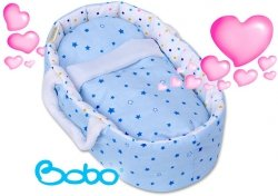 Nosidełko MINI dla lalki do 25 cm niebieskie gwiazdki