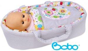Nosidełko BOBO z aplikacją dla lalki do 45 cm szara kratka