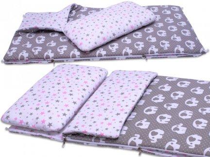 Śpiworek przedszkolaka szare słonie różowe gwiazdy