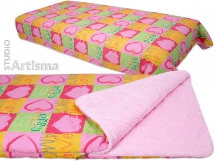 Narzuta na łóżko KOC dwustronny PLED LOVE pomarańczowy z różem
