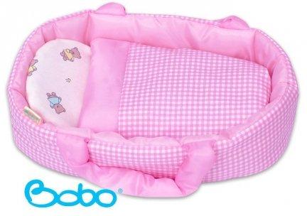 Nosidełko dla lalki do 35 cm różowa kratka