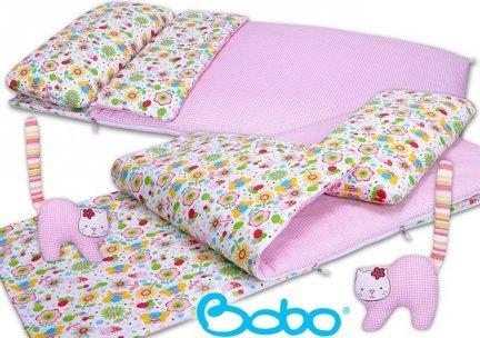 Śpiworek przedszkolaka różowa kratka z różową łączką