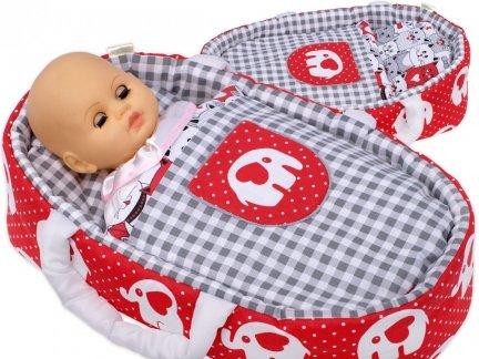 Nosidełko BOBO z aplikacją dla lalki do 45 cm Nosidełko 45 cm czerwone w słonie