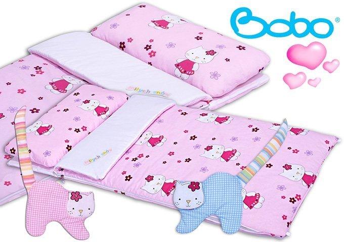 Śpiworek przedszkolaka różowy w kotki