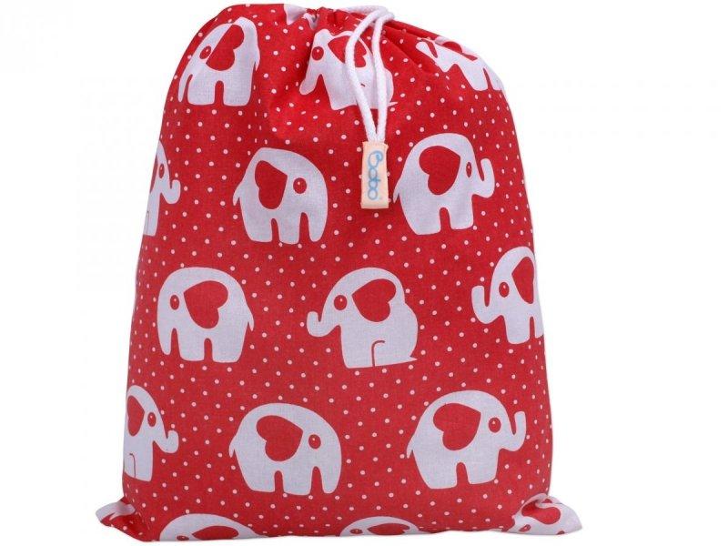 Worek na buty czerwony w słonie