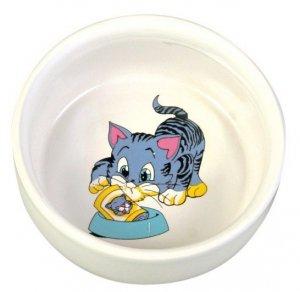 Trixie Miska ceramiczna biała z kotkiem 0,3L/11cm [4009]