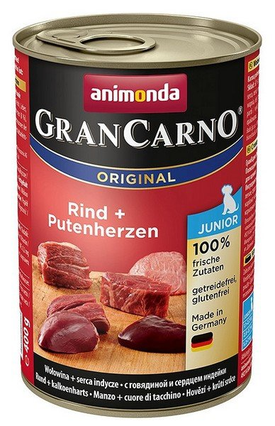 Animonda GranCarno Junior Rind Putenherzen Wołowina + Serca Indyka 400g