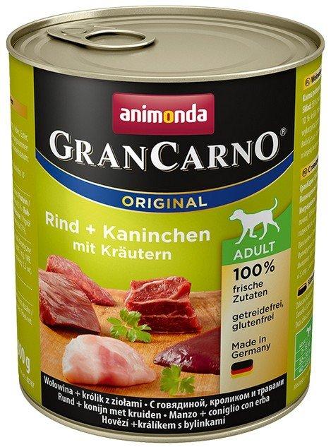 Animonda GranCarno Adult Rind Kaninchen Krautern Wołowina + Królik z Ziołami 800g
