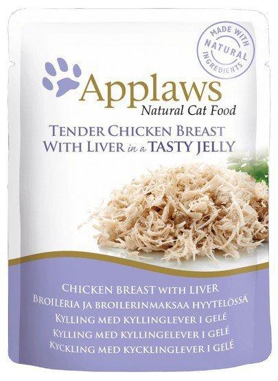 Applaws saszetka dla kota kurczak z wątróbką w galaretce 70g
