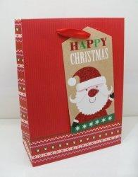Torebka świąteczna płaska duża Święty Mikołaj