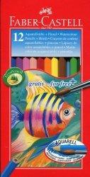 Kredki akwarelowe 12 kolorów + pędzelek