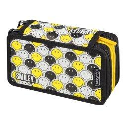Piórnik Potrójny Smiley B&Y Faces z wyposażeniem