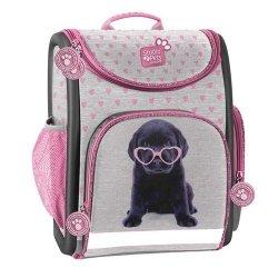 Tornister szkolny Studio Pets szary w różowe serduszka
