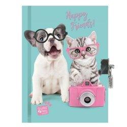 Pachnący pamiętnik Studio Pets błękitno-różowy Happy Friends