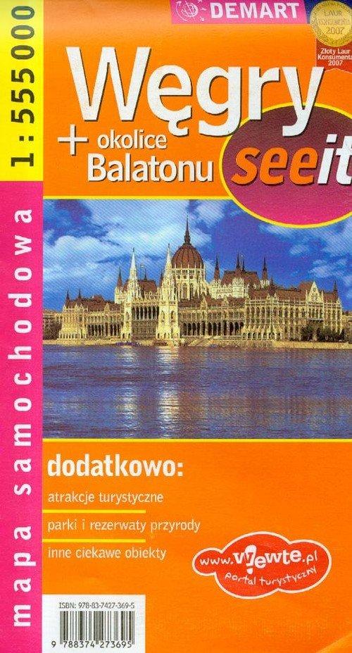 Węgry okolice Balatonu mapa samochodowa
