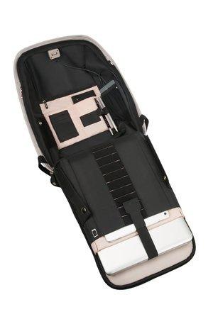 Plecak wewnątrz posiada miejsce na laptopa, tablet oraz wszystkie niezbędne rzeczy. Dostęp do plecaka mozliwy tylko po zdjęciu go z pleców, ponieważ plecak posiada kołnierz, który nachodzi na wszystkie kieszenie i zamyka dostęp do kieszeni złodziejowi.