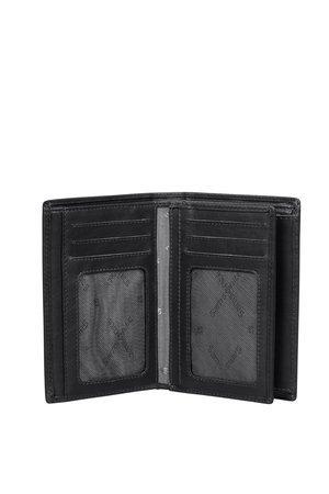 Portfel posiada 10 miejsc na karty w tym dwa miejsca są z siateczką (moga być użyte na zdjęcia )Portfel posiada częśc ruchomą wszytą pośrodku portfela. Portfel posada również 7 większych kieszeni na dokumenty