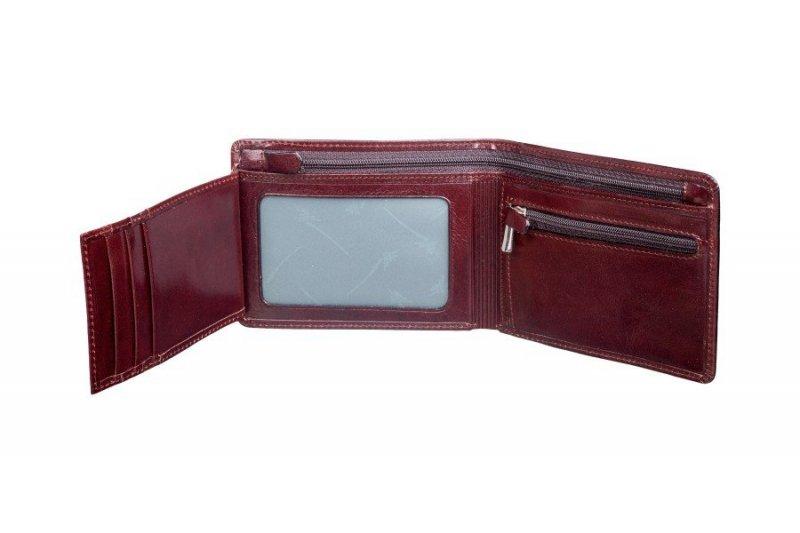 portfel posiada kieszeń na bilon zamykaną na suwak
