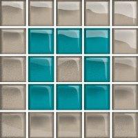 Glass Azure Dark Mosaic B New 14,8x14,8