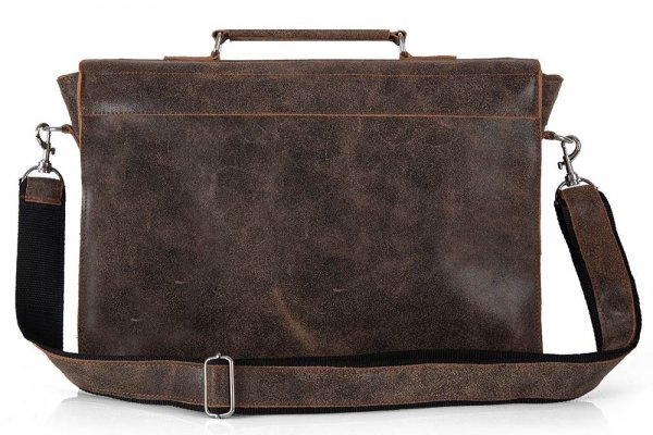 Skórzana męska torba na ramię Solome Lago 01 brązowa vintage tył
