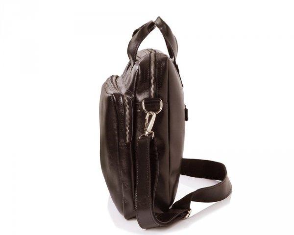 Skórzana torba na laptop Solome premier brązowa bok