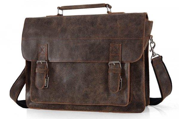 Skórzana męska torba na ramię Solome Lago 01 brązowa vintage skos