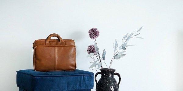 Skórzana torba na laptopa Solome premier karmel detal 5