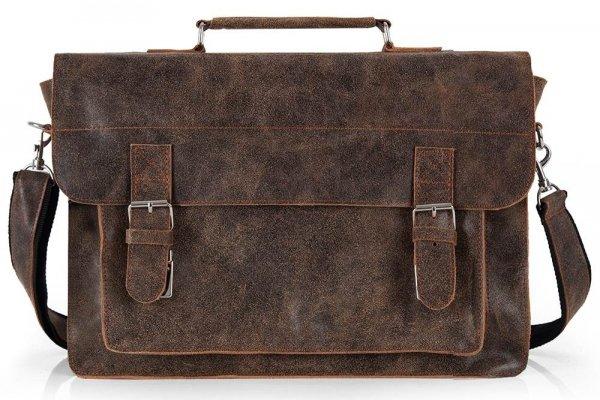 Skórzana męska torba na ramię Solome Lago 01 brązowa vintage przód