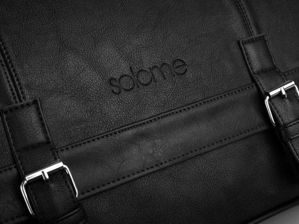 Torba listonoszka męska na ramię Solome Modern czarna detal