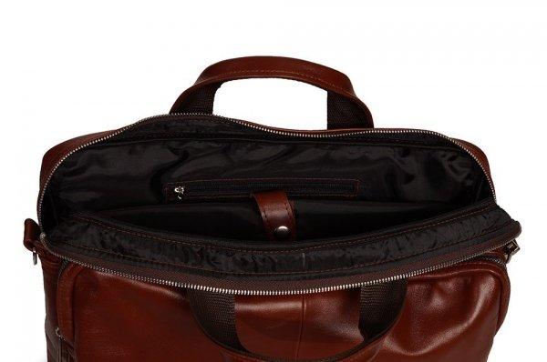 Skórzana torba na laptopa Solome premier karmel detal 1