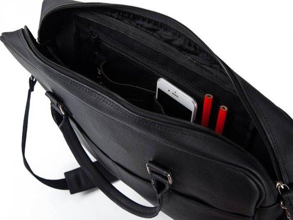 Skórzana torba na laptop Solome Ring 02 czarna detal